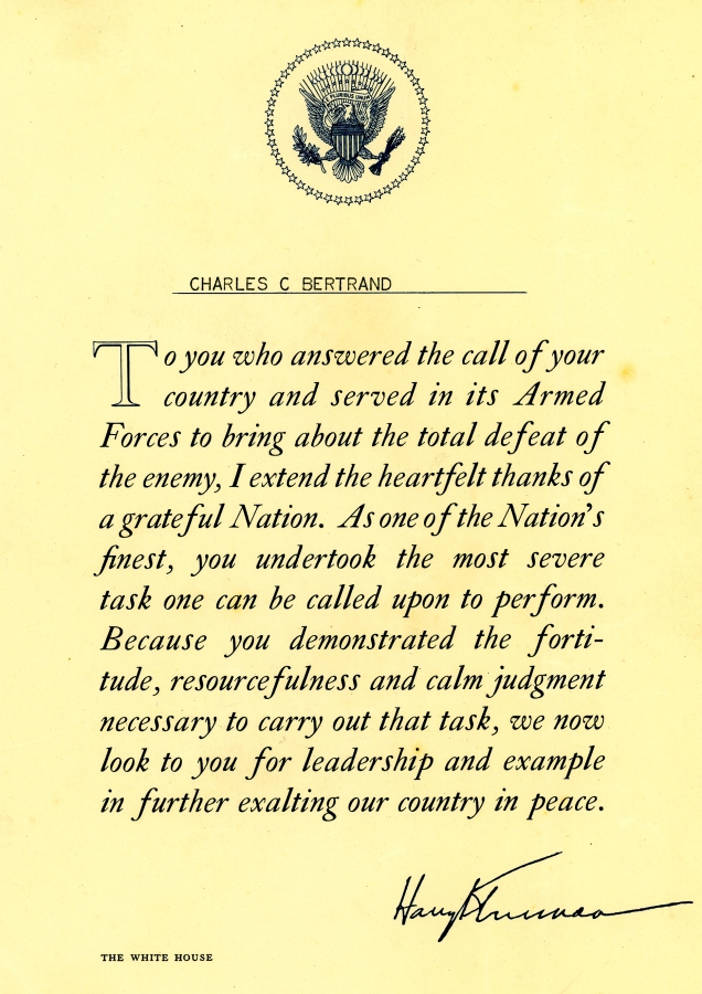 President Truman Letter