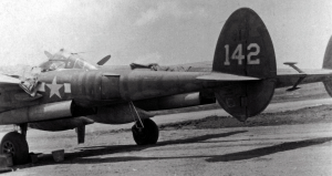 P-38 being serviced; number 142