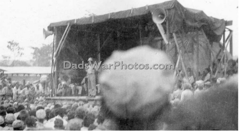Bob Hope entertaining the troops at a USO show at Mokmer Drome, Biak. August 25, 1944.